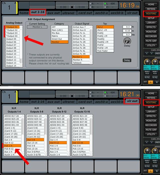 Через выходы XLR 1-4 выведены сигналы Ultranet P16 1-4. Выходы 1-4 коммутатора Out 1-16 отключены от выходов XLR и отмечены *
