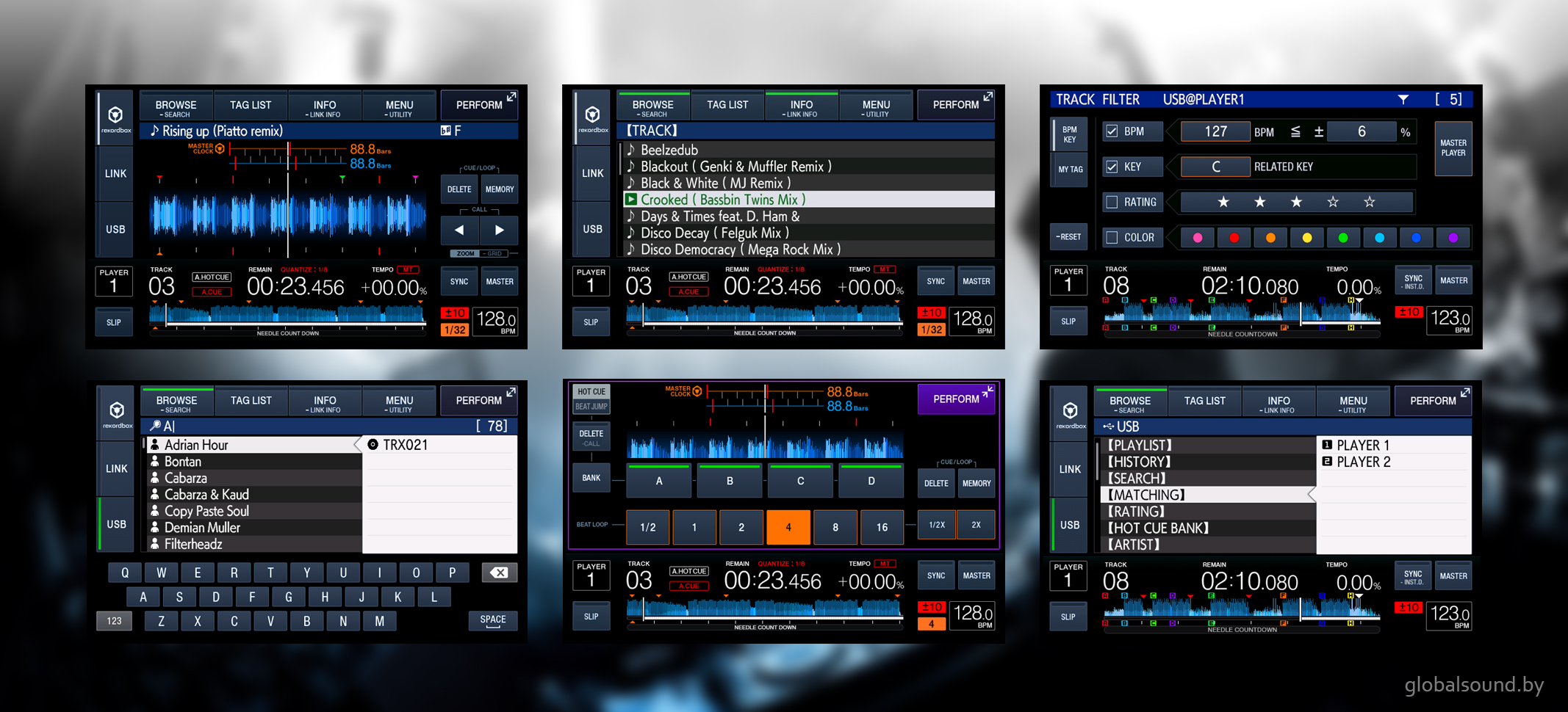 Pioneer XDJ-1000MK2 функции и возможности сенсорного экрана